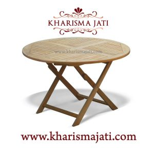 folding table round 120, kharisma jati